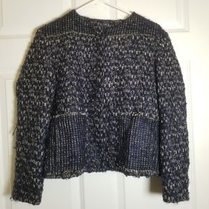 Fendi Wool Blazer Size 44 (US 8) Blue White Black